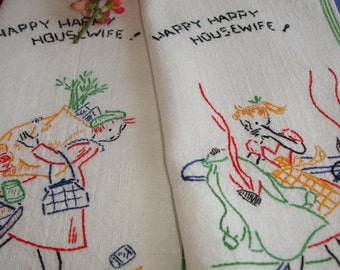 Towels, Kitchen Towels, Dish Towels, LInen Towels, Novelty Towels, 1950s, Retro towels, Pair of Towels, Embroidered, hand embroidery, humor