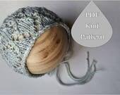 PDF Knit Pattern #0070 The Celeste Knit Bonnet, Newborn, Knit PDF Pattern, Tutorial, Knit Pattern, Intermediate,Instruction,Newborn