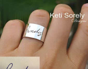 Engraved Handwritten Signature On Cuff Ring - Sterling Silver, Yellow Gold, Rose Gold or White Gold - Unisex Ring for Man or Woman