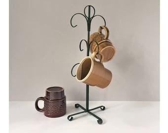 Metal Mug Tree, Green Mug Holder, Vintage Mug Stand, Six-Mug Rack, Countertop Mug Storage, Mug Display, 1970s Mug Storage