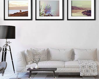 Set of 3 Wall Art, Scottish Art, Living Room Decor, Set of 3 Prints, Sheep, Thistle, Beach Photography, Wall Decor Print Set, Print Set of 3