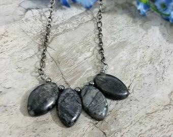 Black Marble Necklace, Black Fan Necklace, Marble Fan Necklace, Black Necklace, Hematite Jewelry, Black Bib Necklace, Black Jewelry