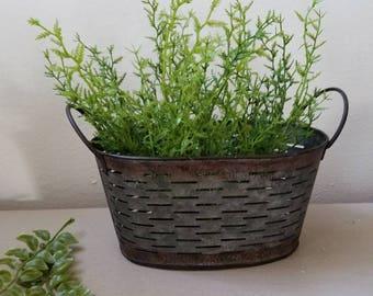 Galvanized Olive Basket with Faux Plant  Farmhouse