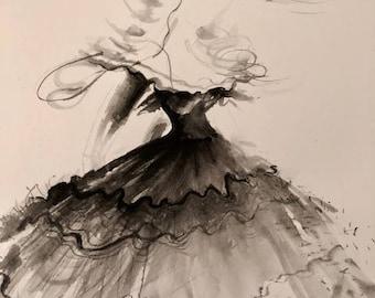 Fashion Art Illustration Watercolour Painting 'Bella'