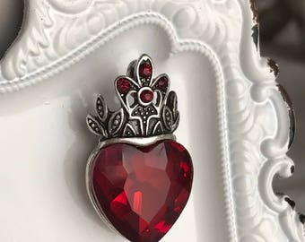 rhinestone heart pendant red glass crown fleur de lis romantic love valentine antiqued silver toned jewelry supply