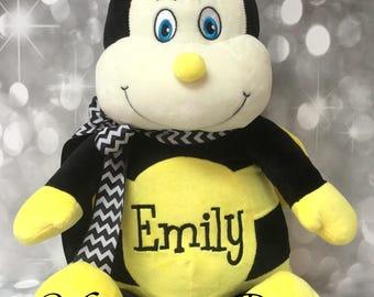 EMILY - Already Personalized - Jumbo Yellow & Black Bee Stuffed Animal - Ready To Ship