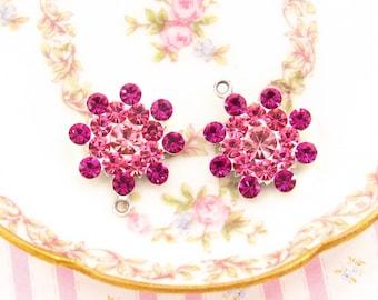 Vintage Style Rhinestone Flower Drops Bright Fuchsia & Rose Pink Swarovski Floral Charms Raw Brass or Antique Silver  17mm - 2