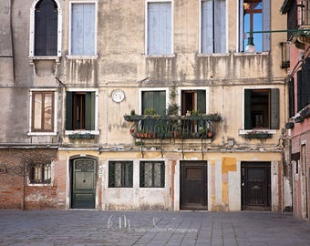 Digital Background of Venice Courtyard in Italy.