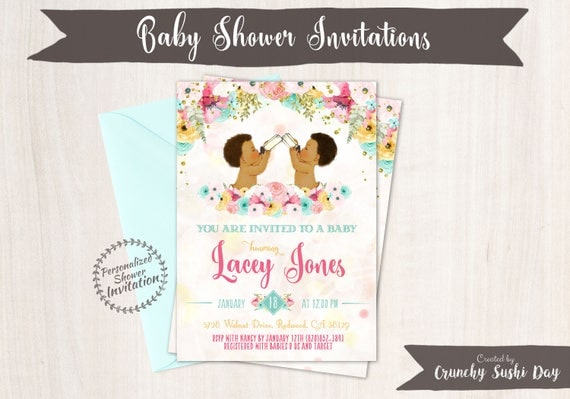 Twins Boys, African American Vintage Baby Boy, Baby Shower Invitations, Printable Baby Shower Invitations, Baby Boy, Teal, Pink, Floral 001