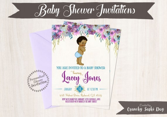 African American Vintage Baby Boy, Baby Shower Invitations, Printable Baby Shower Invitations, Baby Boy, Black, Teal, Purple, Floral 019