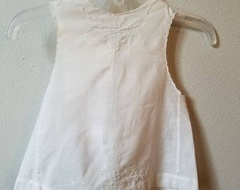 Vintage Girls White Batiste Day Dress Embroidery  and Ties at back by Pemae - Size 9-12 months- Gently Worn