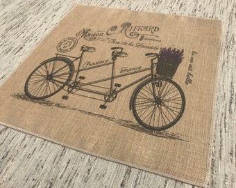 Lavender Bike Burlap Panel, French Printed Fabric