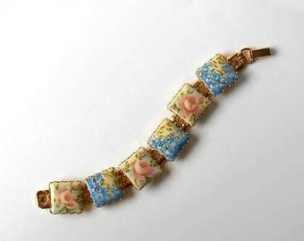 CIJ SALE Vintage Flower Bracelet square Porcelain tiles Gold Links Design
