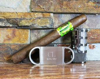 Personalized Groomsmen Gift, Cigar Cutter Butane Lighter Combo, Groomsman, Gifts for Men, Fathers Day, Gifts for Golfers, Cigar Accessories