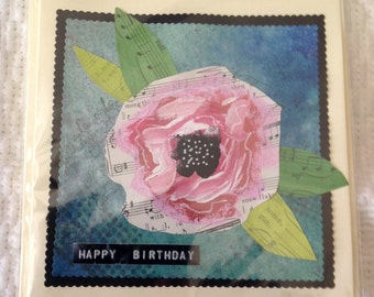 Handmade Mixed Media Floral Card Happy Birthday Gift for Her Friend Family Pink