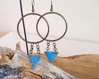 Sacred Geometry Triangle and Circle Earrings