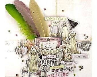 Victorian CHIPBOARD DIE CUTS, Prima Debutante, Victorian Die Cuts, Victorian Embellishments, Victorian Dress Die Cuts, Chipboard Die Cuts
