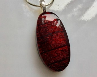 Ruby Red Dichroic Glass Pendant, Fused Glass Jewelry, Red Dichroic Glass Necklace