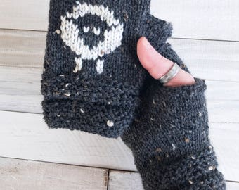 Fingerless Gloves - Fingerless Mitts - Fingerless Mittens - Fingerless - Gloves - Mittens - Mitts - Texting Gloves - Sheep