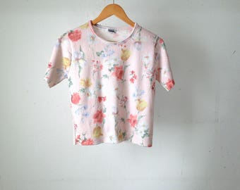 90s FLORAL twin peaks crop top melrose place sweater shirt