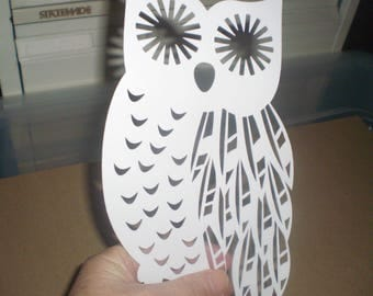 Papercut owl for framing in white/backing in various colours/kids room decor/room decor/wall decor/woodland animal