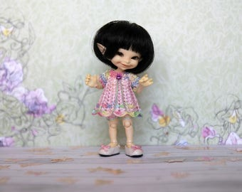 Realpuki outfit - dress and bloomers set - fidelia firefly clothes - crochet pants - pink