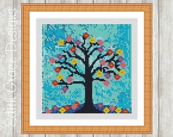 Modern Cross Stitch Pattern, Night Tree Folk Art, Counted Chart, Embroidery,Tapestry, Point de Croix Moderne, Naive Art, Floral, Needlepoint