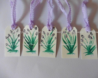 Gift Tags- Lavender Watercolor, Hand painted, floral hostess tags, miniature paintings, flower  painted bookmarks, Fine Art Watercolor