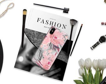 Personalized phone case Marble floral iPhone case Pink Gray Christmas gift for wife, Fits iPhone 4/4s 5/5s 6/6s 7 8 5c SE X and Plus (1825)