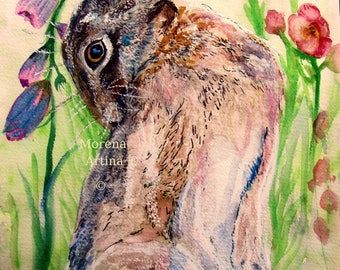 Hare Print Hare Print Looking Back Hare Signed Print Watercolour hare painting, drawing, illustration, morena artina hare artist.