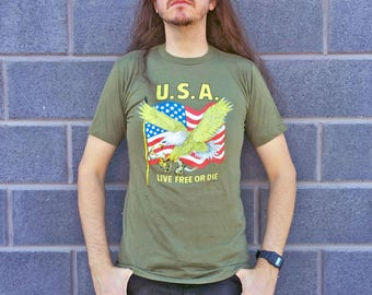 Vintage USA 'Live Free or Die' T-shirt M *Screen Stars* Olive Drab Green 80s American Flag & Eagle