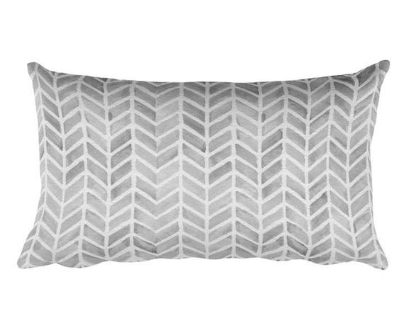 "Gray Accent Pillow with Arrow Pattern, 12""x20"""