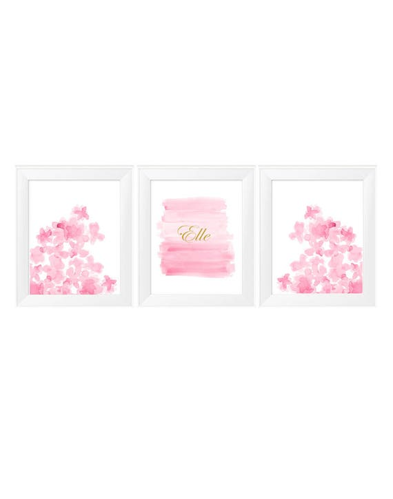 Pink Nursery Prints, 11x14-Set of 3 Personalized with Silver or Gold