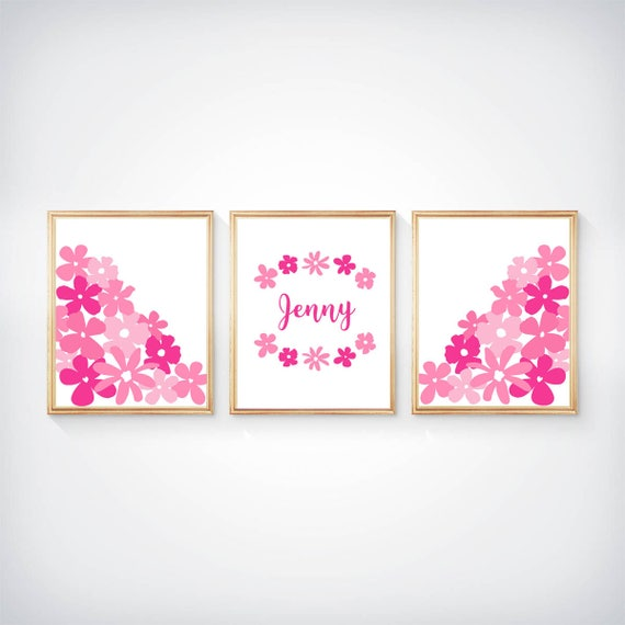 Hot Pink Girls Decor, 8x10 Set of 3 Flower Prints with Custom Name