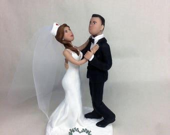 Nurse and Groom Cake Topper Custom Wedding Cake Decorations