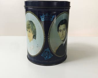 Vintage 1980s Quality Street Charles and Diana Wedding Commemorative Tin