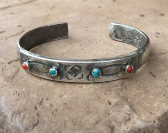 Fred Harvey Era Ingot Coin Silver Turquoise & Red Coral Whirling Logs Bracelet