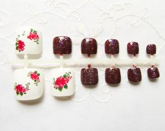 Red Flower Fake Toenails, Fake Nails, Toenails, Pedicure, Toe Nails, Press on, Acrylic, Nails