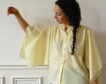 blouse pale yellow Bohemian (OOAK)