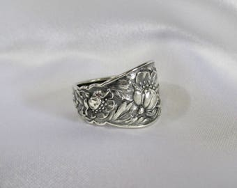 Wild Rose Flower Spoon Ring Sterling Silver Thumb Ring Floral Band by Treasure Grotto