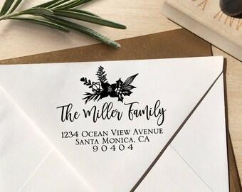 Christmas Address Stamp, Holiday Address Stamp, Mistletoe Stamp, Calligraphy Stamp, Christmas Stamp, Holiday Stamp, Return Address Stamp