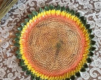 Handmade Ceramic Sunflower Serving Platter