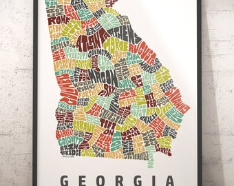 Georgia Map Etsy - Map of georgia with cities
