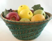 """Hand Woven Round Table Basket - Emerald/Teal and Smoked Twill Design - """"Emmie"""""""