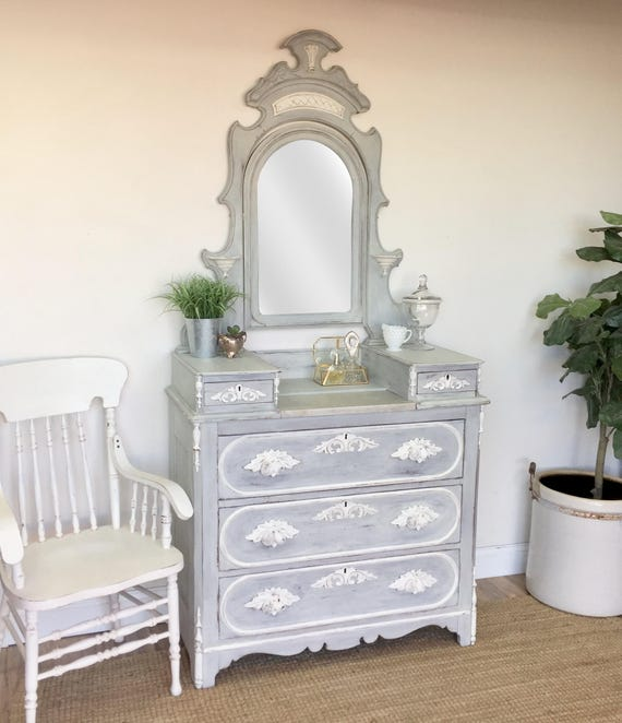 Vanity Dressing Table - Shabby Chic Furniture - Vintage Makeup Vanity - Antique Bedroom Furniture, Dresser with Mirror - Victorian Furniture
