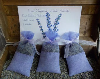 Lavender Sachets, Linen and Organza Sachets, Wedding Favors, Shower Favors, Bridesmaids Gifts, Bridal Shower Favors, Holiday Gifts Set of 20
