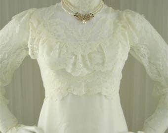 Vintage 70's Boho Prairie ILGWU Chantilly Lace and Chiffon Wedding Dress
