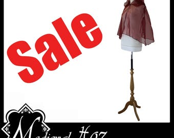 Maroon/ Wine Shimmer Organza Short Cloak/ Cape Slight 2nds. Ideal for LARP Medieval Gothic Alternative Hoodie SALE!