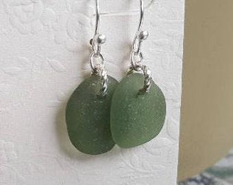 Sea Glass jewelry, Sea Glass Earrings, Genuine Sea Glass jewelry, Genuine Sea glass Earrings, Olivine Sea Glass