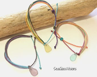 Sea Glass Bracelet, Waxed Cord Bracelet, Beach Glass Charm, Friendship Bracelet, Beach Glass Bracelet, Adjustable, Boho
